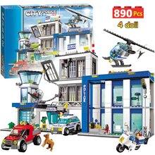 890 шт., городской полицейский участок, строительные блоки, совместимые с SWAT, городской полицейский автомобиль, ячейка, вертолет, кирпичи, игрушки для детей, мальчиков, подарки