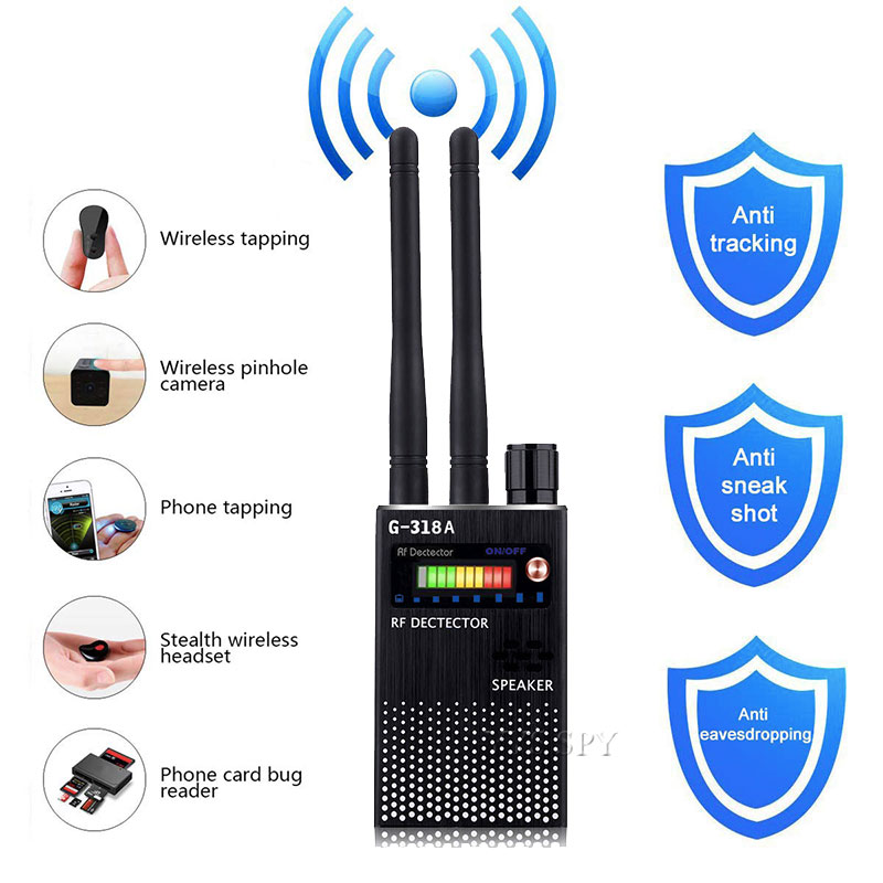 Dual Antenna RF Signal Detector For Hidden Camera Eavesdropping Wireless Audio Bug GPS GSM Device Finder Anti-Spy Scanner