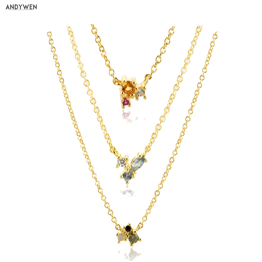 ANDYWEN 925 Sterling Silver Rainbow Collection Zircon CZ Charm Pendant Neclace Slim Gold Long Chain Jewelry For 2020 Fashion