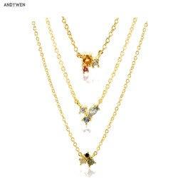 Andywen 925 Sterling Zilveren Regenboog Collection Zirkoon Cz Charm Hanger Neclace Slanke Gouden Lange Ketting Sieraden Voor 2020 Mode
