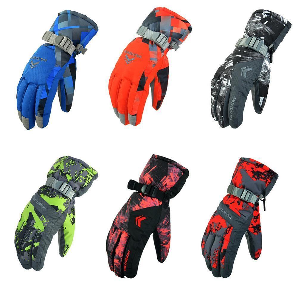 New Men's Ski Gloves Fleece Snowboard Gloves Snowmobile Motorcycle Riding Winter Gloves Windproof Waterproof Unisex Snow Gloves