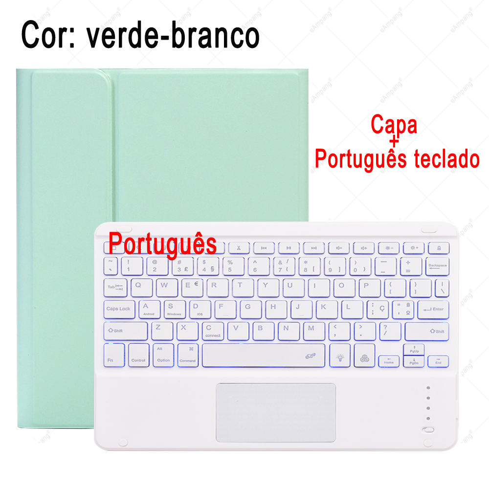 Portuguese Keyboard Gradational Color For iPad 7th 8th Generation 10 2 2019 A2200 A2198 A2232 Case with Backlit Touchpad Keyboard