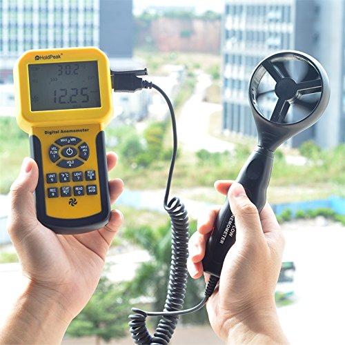 Anémomètre de HP-856A de HoldPeak de mètre de Volume d'air de vitesse de vent numérique USB/tenu dans la main avec l'enregistreur de données - 6