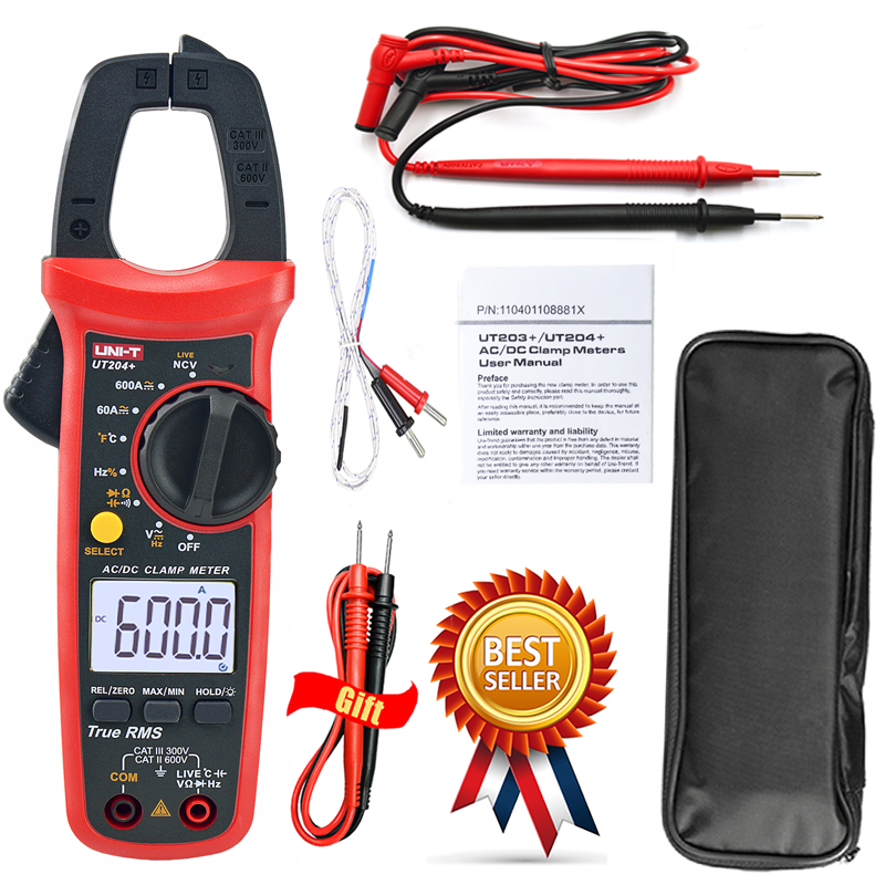 UNI-T UT204+ Digital Clamp Meter+TEST LEADS True RMS,NCV ,400-600A With Temperature Test Auto Range 600V Voltage Multimeter,New.