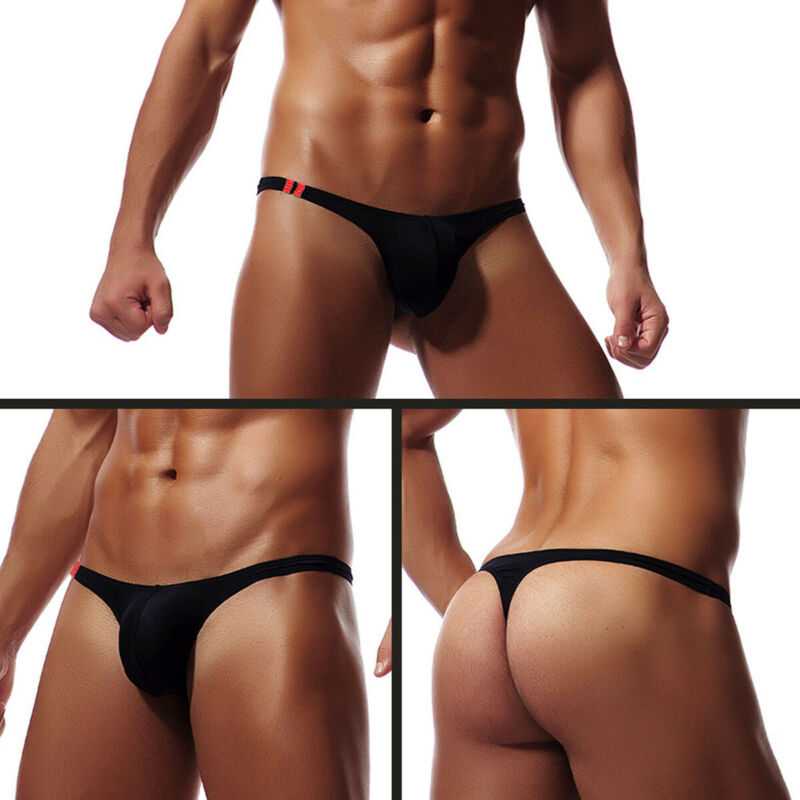 Men's Underwear Briefs Lingerie Thong String Jockstrap Men Sexy Black White Yellow Blue title=