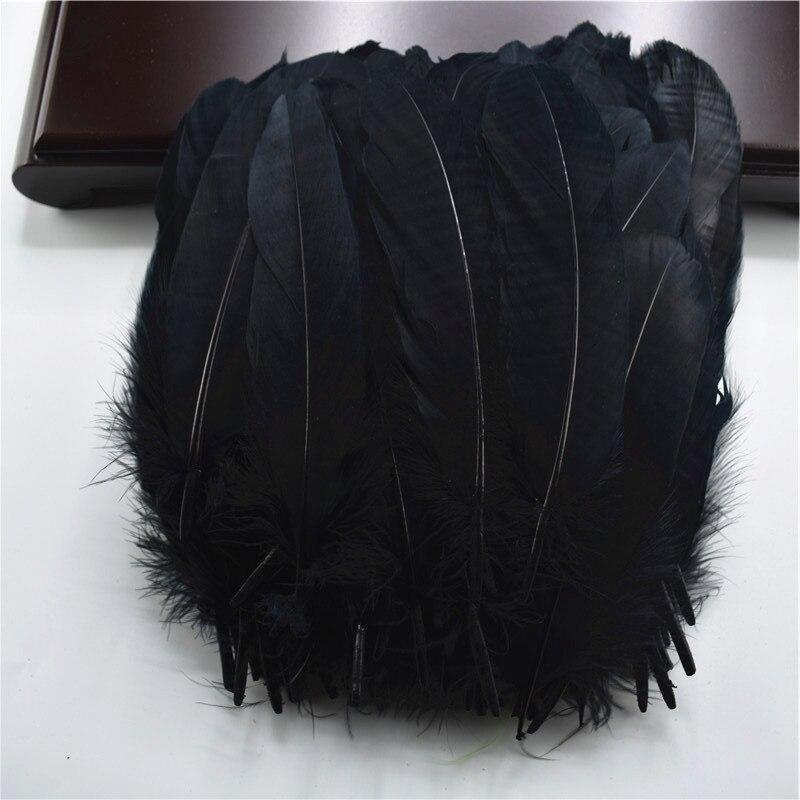 Жесткий полюс, натуральные гусиные перья для рукоделия, 5-7 дюймов/13-18 см, самодельные ювелирные изделия, перо, свадебное украшение для дома - Цвет: Black