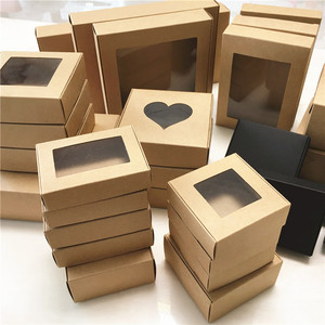 50pcs Paper Wedding Favor Gift Box Kraft Paper Cookies Candy PVC Windows Boxes Birthday Party Supply Accessories Packaging Box