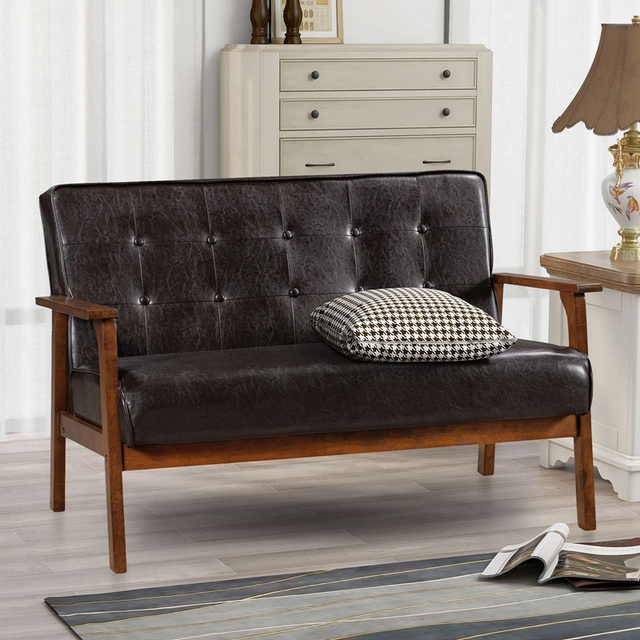 Loveseat Sofa Leather 2-Seat Couch 1