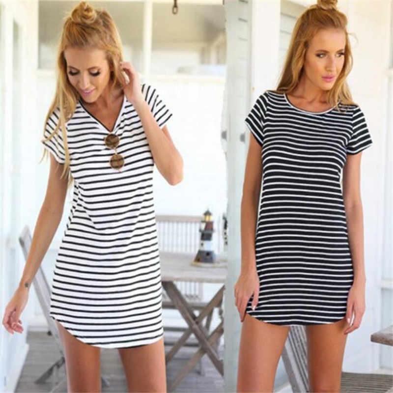 Frauen Dame Mädchen der Über Knie Kleid, Gemütliche Oansatz Lose Navy Gestreiften Schwalbenschwanz Kleider, Weich, Bequem, große Yards