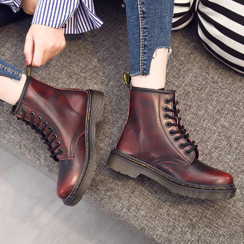 2019 Yüksek Kaliteli Bölünmüş Deri Erkek Botları Dr Motosiklet Botları Hakiki deri ayakkabı Yüksek Top erkek ayakkabısı Sonbahar Erkekler Kış Ayakkabı