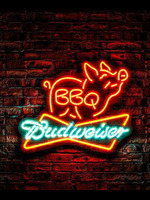Neon Sign BBQ budweiser pig OPEN club barbecue real glass decor Lamp resterant light Hotel custom coffee Impact Attract light