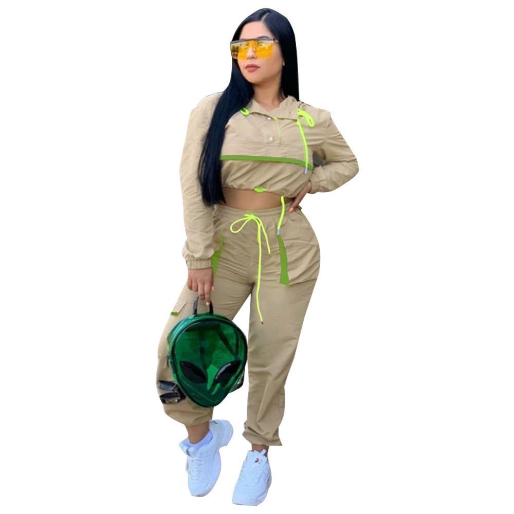 Adogirl Women Two Piece Set Tracksuit Long Sleeve Hooded Sweatshirt Casual Pants Outdoor Sportswear