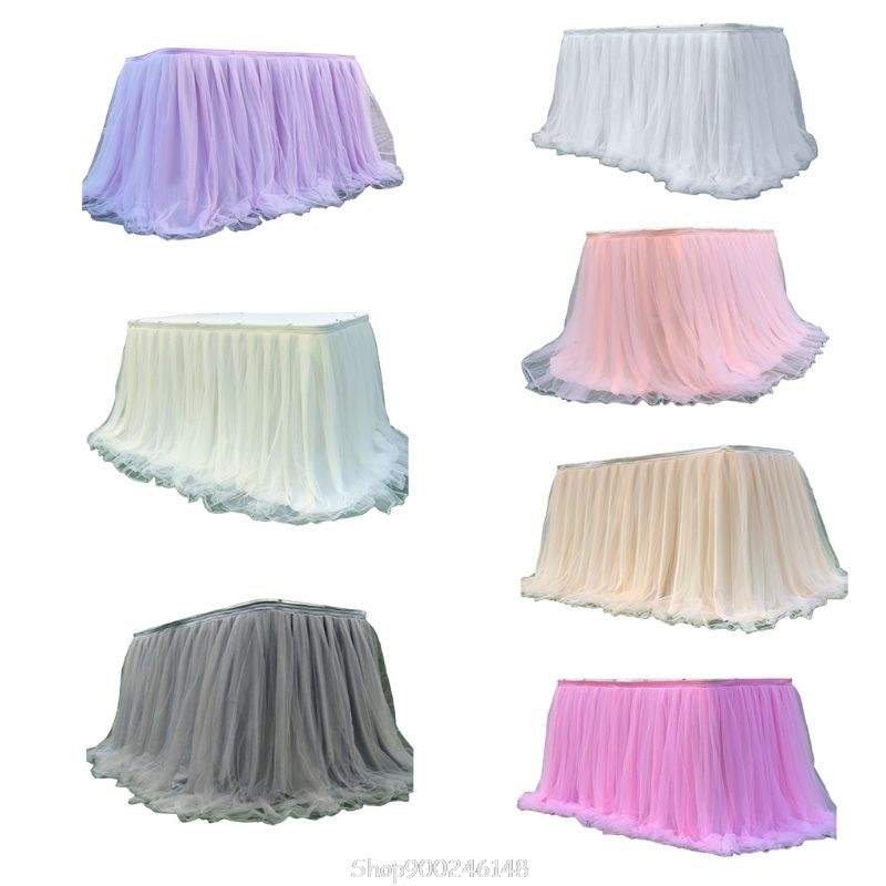 Impartial Colorful Tablecloth Tulle Dessert Reception Table Skirt Decoration For Wedding Party Home Birthday N10 20 Dropship