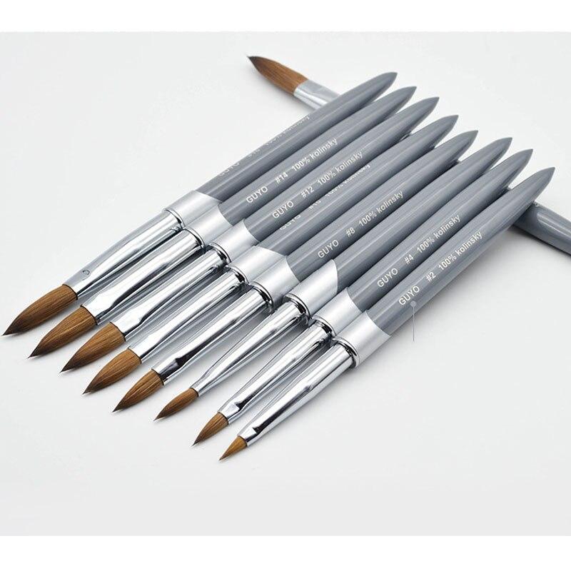 100% Kolinsky Sable Acrylic Nail Brush Manicure Powder Art Brush  Gel Builder Brushes Choose Size