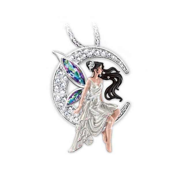 2020 แฟชั่นคริสตัลอินเทรนด์ที่มีสีสันElf Girl 925 สีเงินจี้สร้อยคอLuxury Moon Fairyสร้อยคอสำหรับสตรี