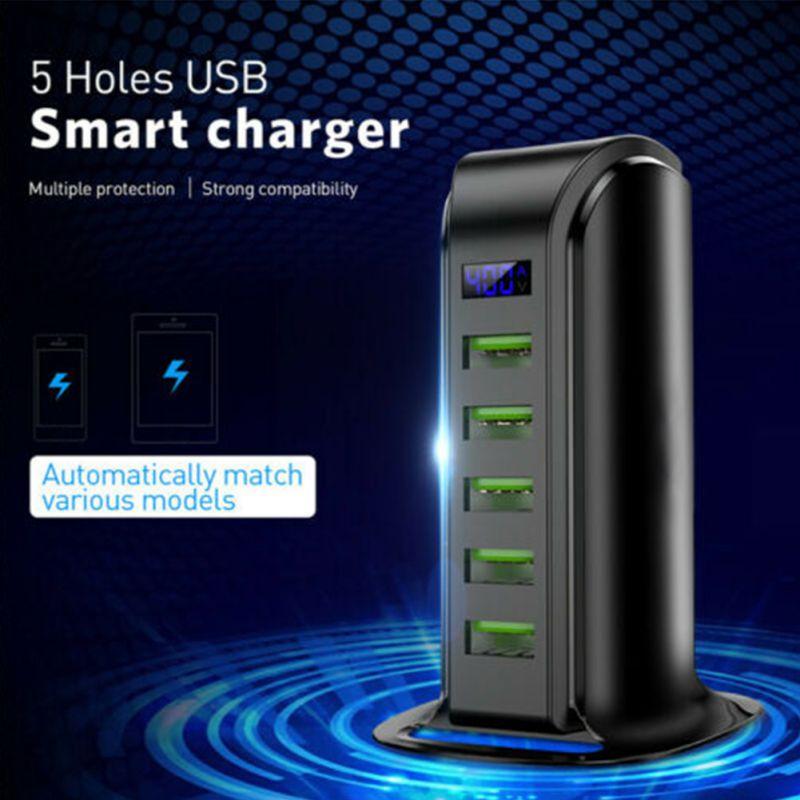 Купить с кэшбэком New 5 Port USB Plug Charging Station Dock Stand Desktop Charger Hub For Mobile Phone UK/US/EU Plug