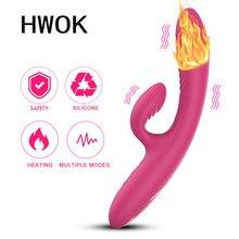 Vibratore del coniglio di riscaldamento di HWOK per le donne Fidget giocattoli del sesso merci per adulti macchina Vagina plug anale masturbatori massaggiatore erotico