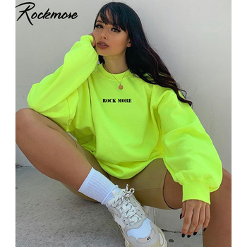 Rockmore Letter Printed Hoodies Women Sweatshirt Harajuku Streetwear Oversized Hoodie Plus Size Hooded Sweat Femme Winter Fall