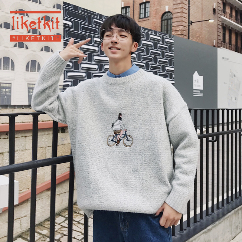 Liketkit Men's Casual Sweaters 2019 Man O-Neck Pattern Printed Solid Sweater Male Funny Oversize Autumn Winter Knitted Pullovers