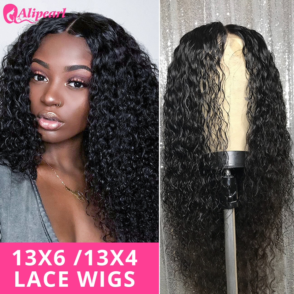 Deep Wave 13x6 Lace Front Human Hair Wigs 150 180 250Density Pre Plucked Brazilian Human Hair Wigs For Black Women AliPearl Hair