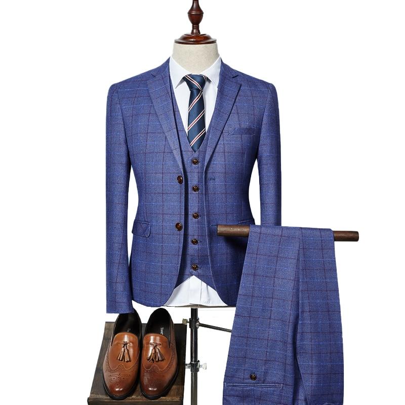 ( Jacket + Vest + Pants ) 2019 New Fashion Boutique Plaid Mens Casual Business Suit Groom Wedding Dress Formal Slim Plaid Suit