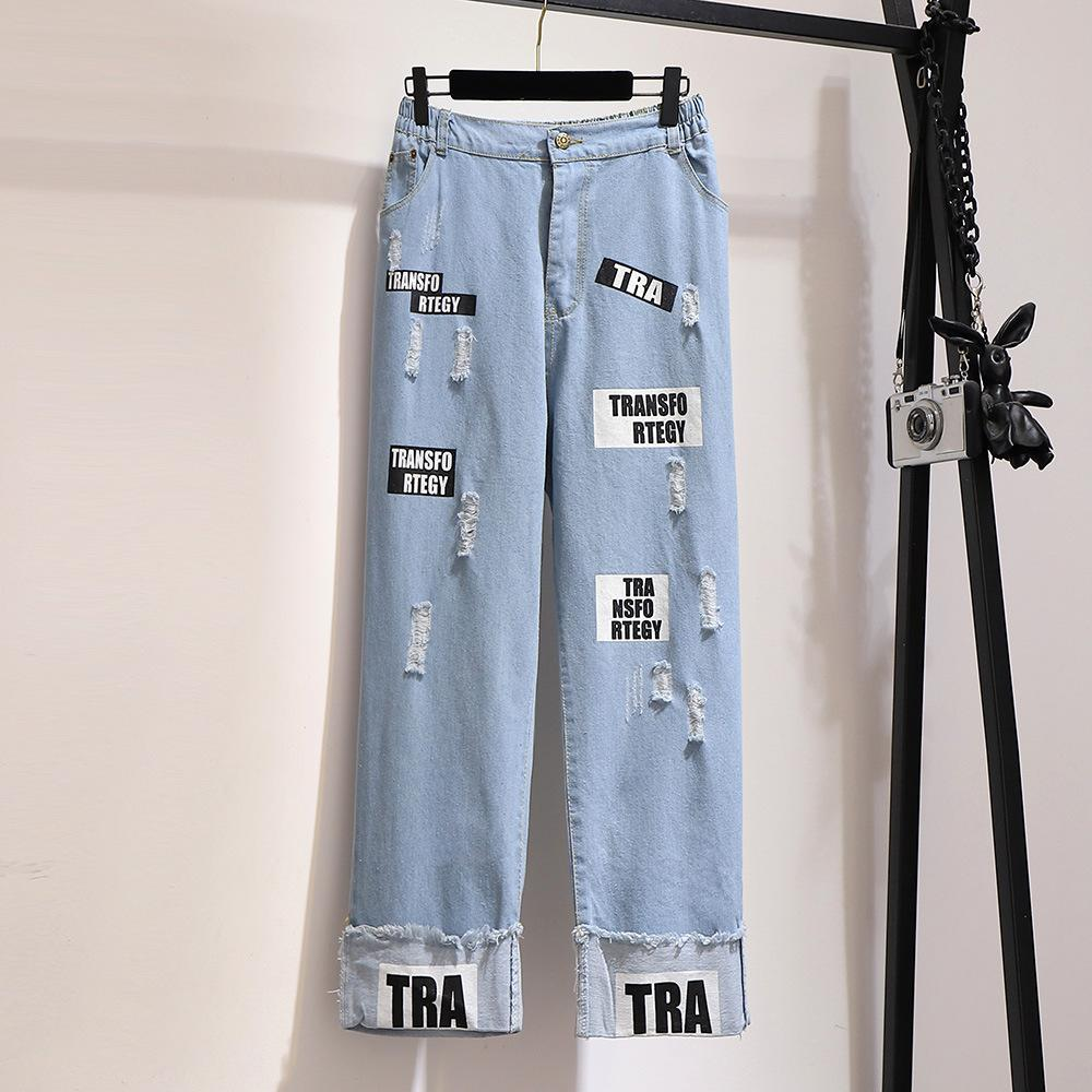 2XL-6XL Large Size Women Hole Jeans Autumn Casual Plus Size 5XL Letter Print Jeans Elastic Waist Denim Pant Loose Wide Leg Jeans