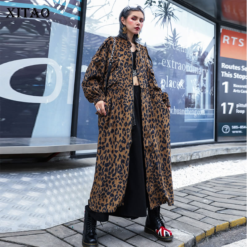 XITAO Women Trench-Coat Korean-Patchwork Leopard Fashion Plus-Size Pocket Casual New title=