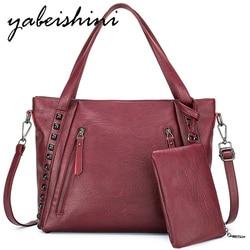Bolsas de couro das mulheres Embreagem Two-piece set tote do saco das mulheres de Alta qualidade Designer De Marca de luxo mais sacos de ombro para mulheres 2019