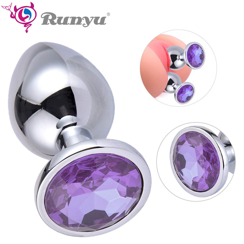 Anal Dildos Intimate Metal Anal Plug With Crystal Jewelry Smooth Butt Plug Vibrator Masturbation Anal Beads Sex Toys For Women