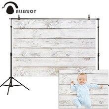 Allenjoy Fondo de Fotografía Blanco puro, tablero de madera vintage, Fondo de pared de suelo, estudio fotográfico, fotofono, sesión fotográfica, decoración