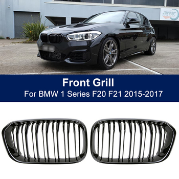 Car Front Bumper Grilles Kidney Racing Grill For BMW 1 Series F20 F21 LCI 120i 2015 2016 2017 Double Slat Replacement Grille 2pcs set double slat kidney grille front bumper racing grill for bmw 4 series f32 f33 f36 420i 428i 435i m4 2014 2016