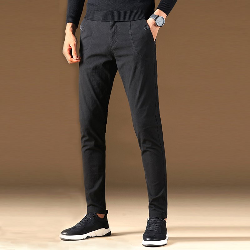 Vomint 2019 Mens Pants New  Casual Business Fit Body Stretch Trousers Men's Pant Cotton Work Solid Color