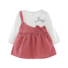 New Baby Girl Dress 0-3T Autumn Fashion Casual Long Sleeve Letter Printing Bownot Decoration Single Shoulder Strap