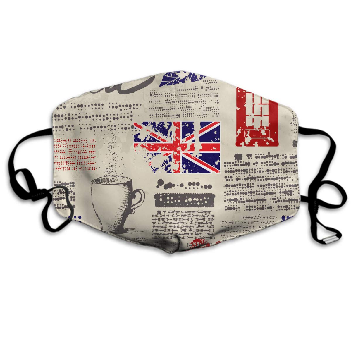 Comfortable Two Layer Dust Mask, Soft British Newspaper Face Mask Cover Mouth For Adults And Teens