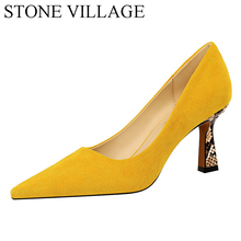 STONE VILLAGE 34 43 Plus Size Shoes Women Fashion  Sexy Nightclub Leopard Print Color Block Suede Shallow High Hell Pumps