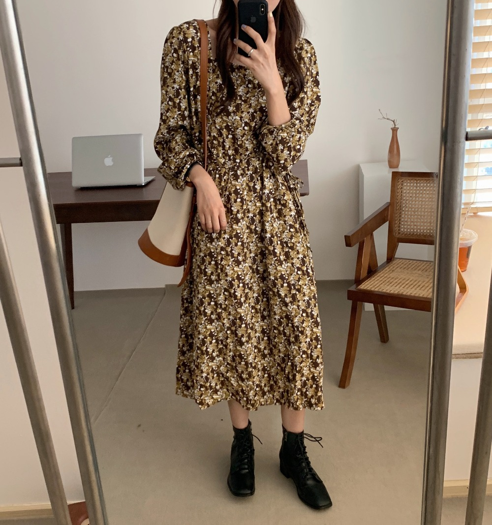 H824f04ee2e954881b01b39b6400047faL - Autumn Square Collar Lantern Sleeves Floral Print Midi Dress