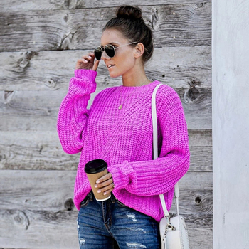 Fitshinling 2020 New Arrival Sweater Women Clothing Solid Slim Basic Jumper Knitwear Holiday Boho Autumn Winter Pullover Knitted 1