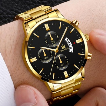 Luxury Men Business Military Quartz Watch Gold Stainless Steel Band Mens Watches Date Calendar Male Clock Relogio Direct Watch kademan luxury sports watch mens dual time date stopwatch lcd digital military black stainless steel band man relogio masculino