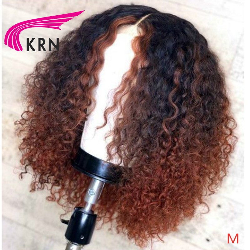 KRN Curly 13x6 Lace Front Ombre Honey Blonde Human Hair Wig Brazilian Remy Preplucked Glueless Baby Hair For Women