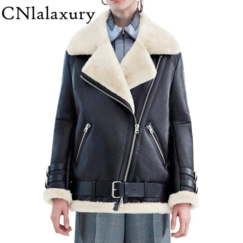 Теплая женская зимняя мотоциклетная бархатная куртка, женская короткая куртка с отворотами на меху, толстая Корейская куртка из искусственной кожи, куртка бомбер 2020|Кожаные куртки|   | АлиЭкспресс
