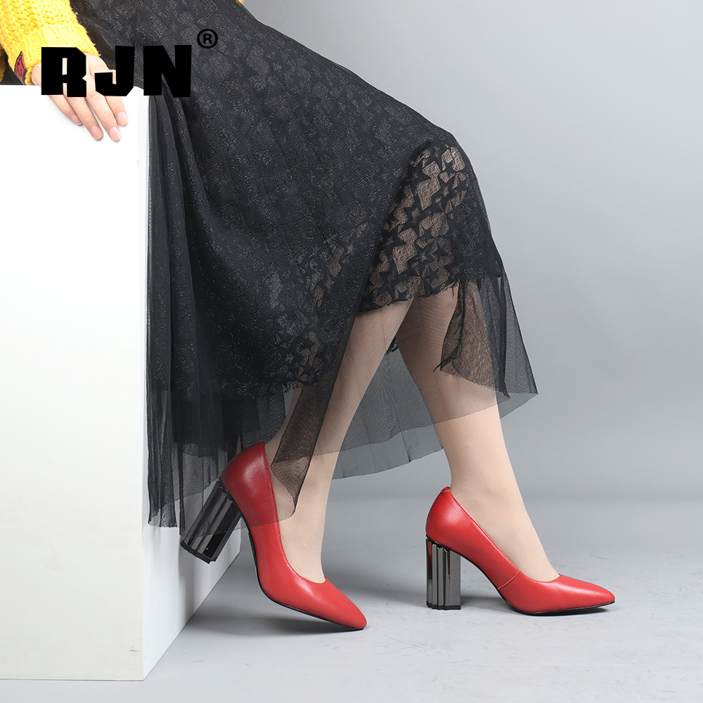 New RJN Sexy Pointed Toe Pumps Strange High Heel High Quality Soft Sheepskin Solid Slip-on Shoes Women Shallow Pumps For Work R32