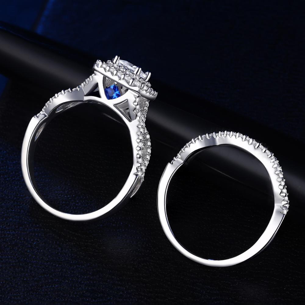 Newshe solide 925 en argent Sterling anneaux de mariage pour les femmes Double Halo princesse coupe AAA Zircon bague de fiançailles ensemble de mariée BR0979 2