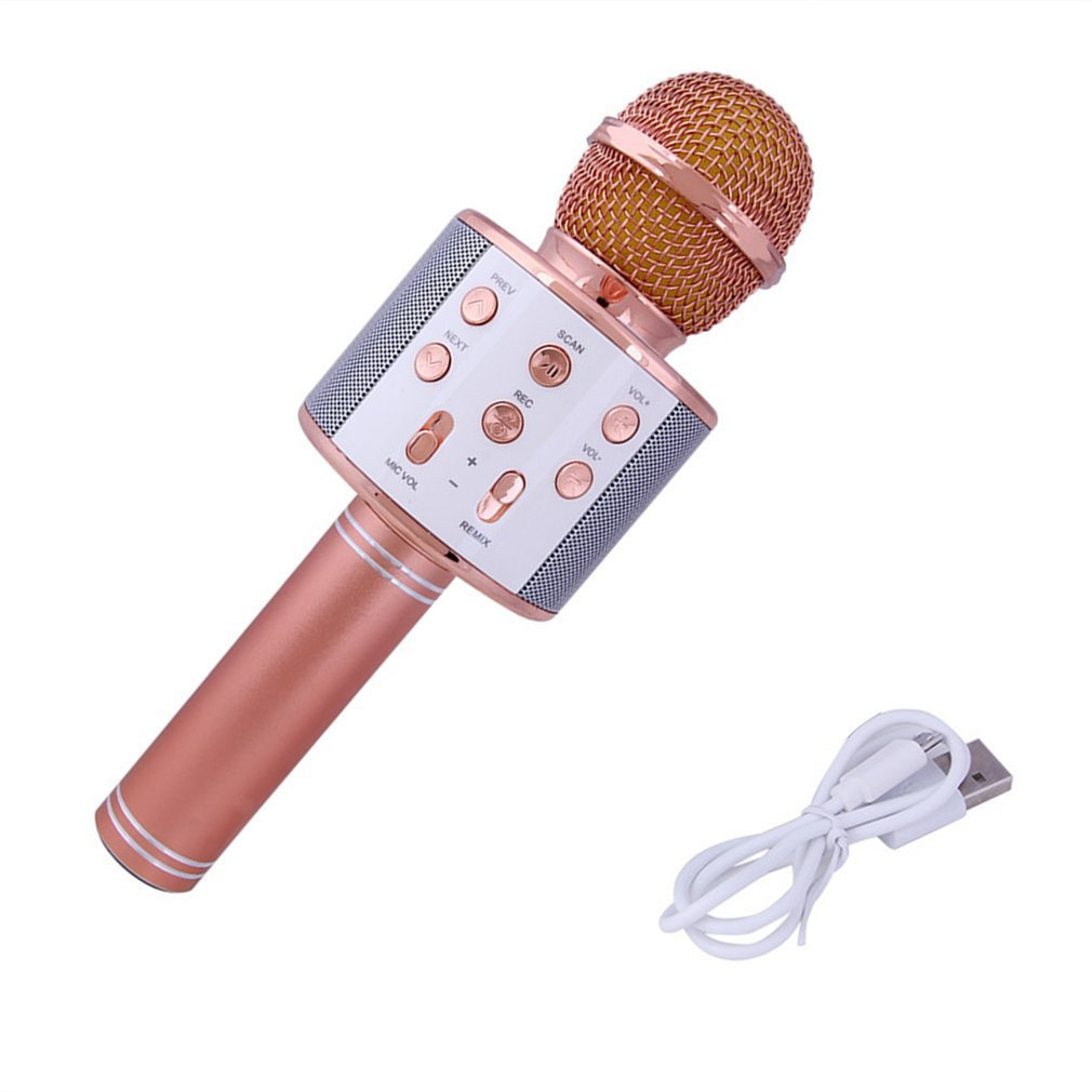 Portable Size WS858 Wireless Bluetooth Microphone High Sensitivity Home KTV Music Playing Online Chat Microphone Drop Ship