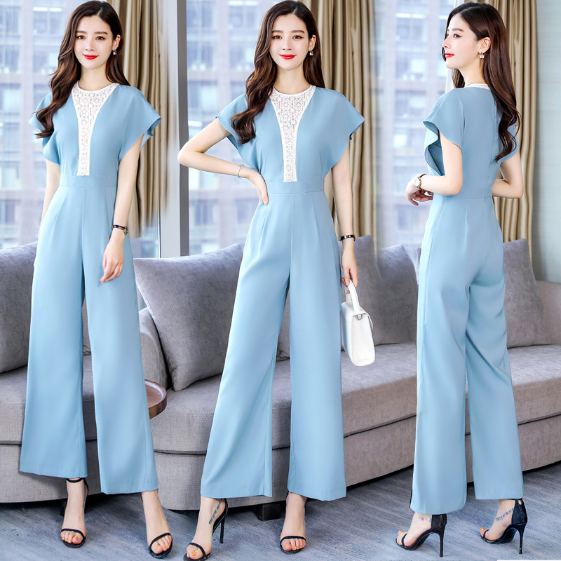 2019 Summer Wear New Style Goddess-Style Debutante Elegant Slimming Romper Lace Joint Loose Pants Onesie Women's