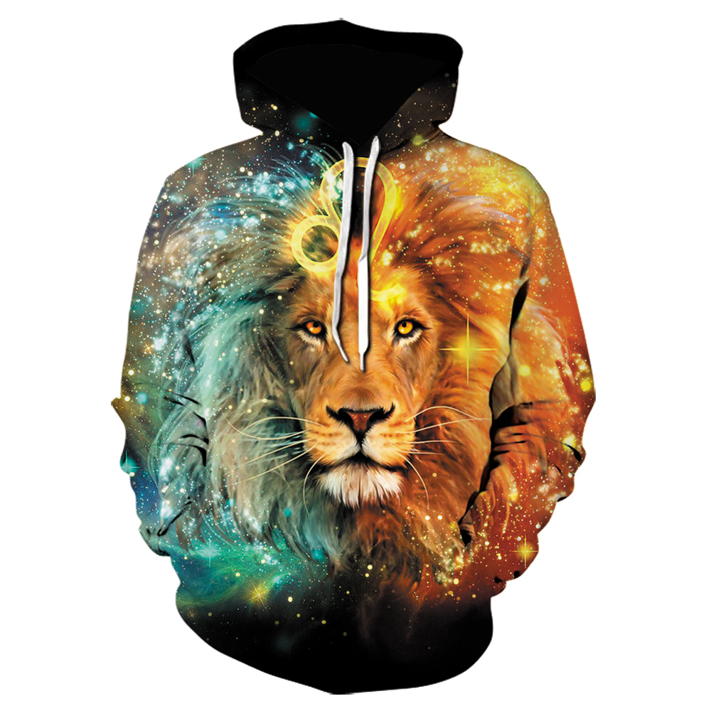 Men's Fashion Autumn Hoodie Sweatshirt Lion 3D Printed Pullover Long Sleeve Male Cool Casual Loose  Hooded Shirt Lion Hoodie