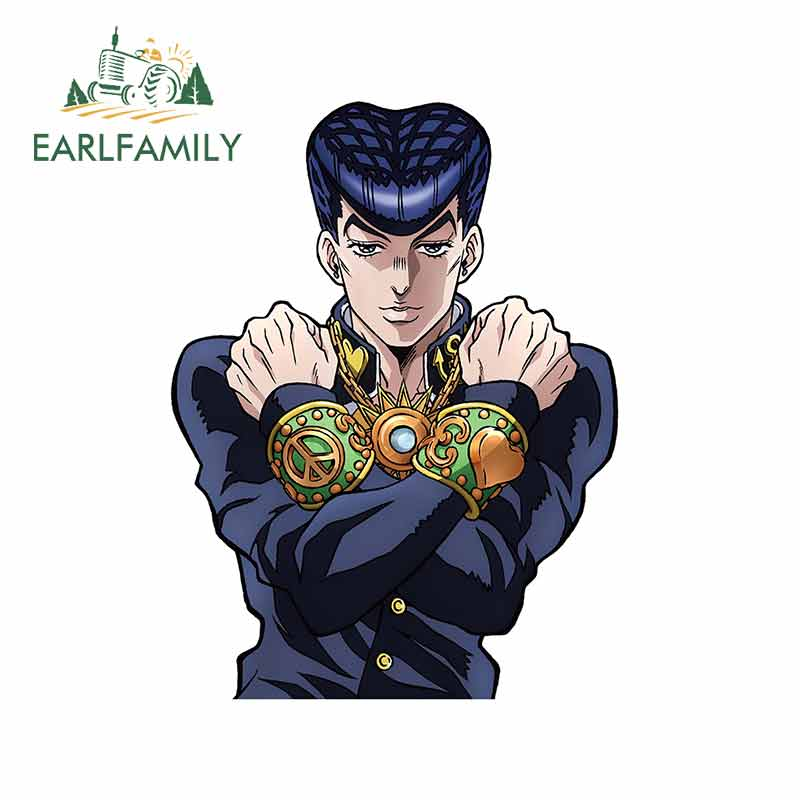 EARLFAMILY 13cm X 10cm For Jojo Bizarre Adventure Josuke Motorcycle Car Stickers Anime Decal Suitable For All Types Of Vehicles
