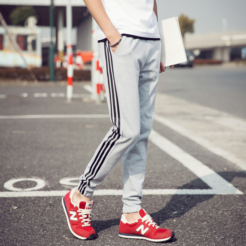 Spring And Autumn New Style Men's Three Bars Stripes Athletic Pants Slim Fit Versatile Plus-sized Menswear Casual Pants Men's Be