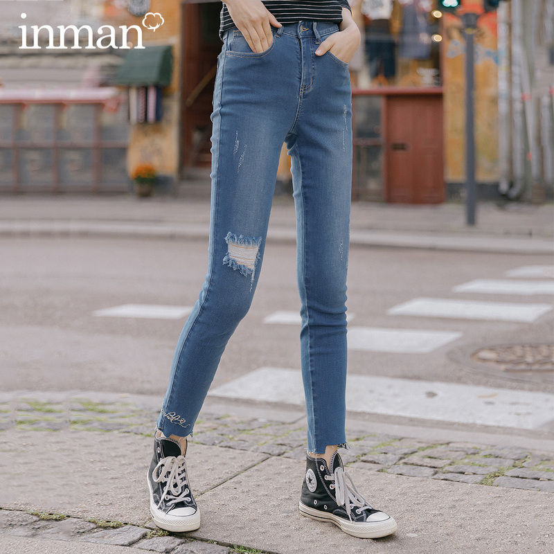 INMAN 2020 Spring New Arrival Hole Micro Elastic Embroidered Slimmed Pencil Pant