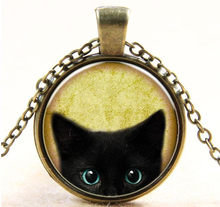 New Fashion Steampunk Mystery Cat Retro Cabochon Glass Pendant Chain Necklace new Hot Sale Punk Fashion Jewelry Chain Necklace(China)