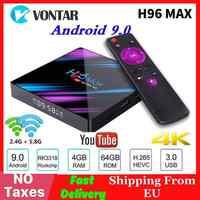 H96MAX inteligente 4K TV caja Android 9,0 4GB de RAM 64GB ROM RK3318 1080p 60fps H96 Max WiFi reproductor de medios Youtube Set Top Box 2G16G